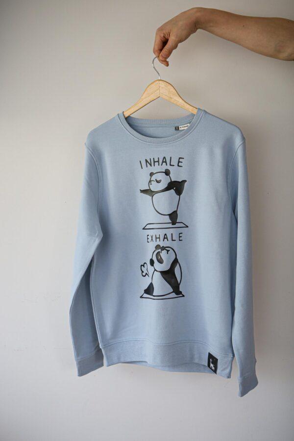 black giraffe inhale exhale blue hoodie