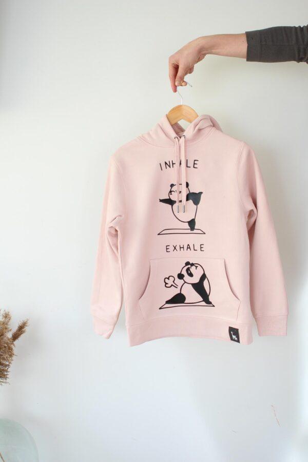 black giraffe pink inhale exhale hoodie